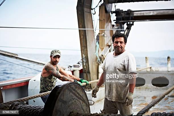 Fishermen on fishing trawler