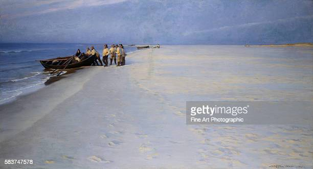 Fishermen on the Beach at Skagen Denmark by Peder Severin Kroyer