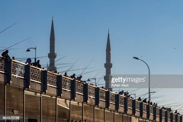 Fishermen on the Galata Bridge,Eminonu,Istanbul,Turkey