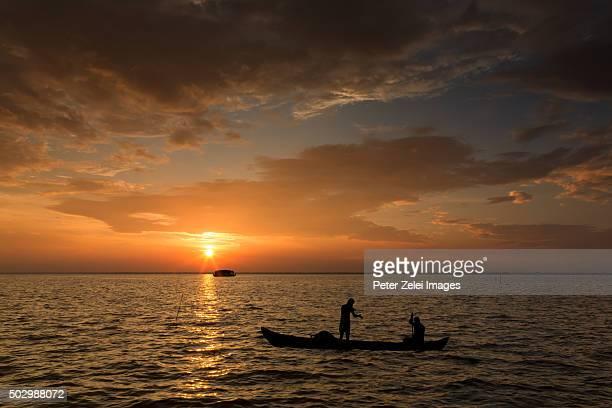 Fishermen on the Vembanad lake, Kerala, India