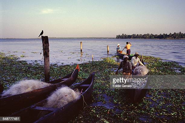 Fishermen returning with their catch in Kerala backwaters South India