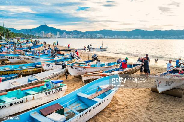 fishermen sell freshly caught fish in acapulco mexico - acapulco stock pictures, royalty-free photos & images