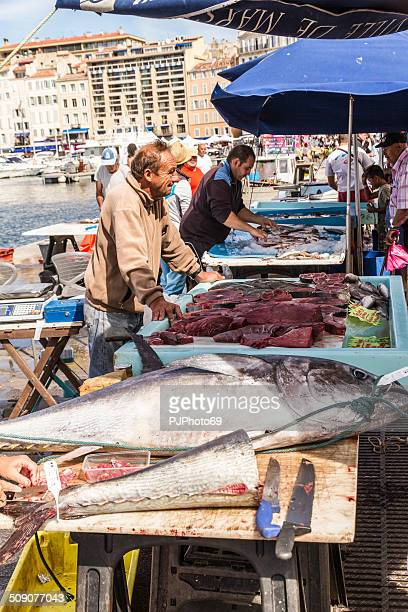 Fishermen sells fresh fish at Old Port of Marseille