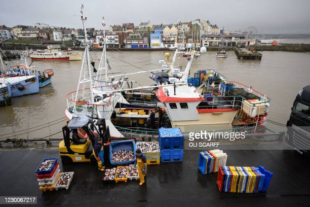 Fishermen sort and load trays of salmon heads to be used as bait for crab and lobster pots as they prepare for their next voyage to sea, on the South...