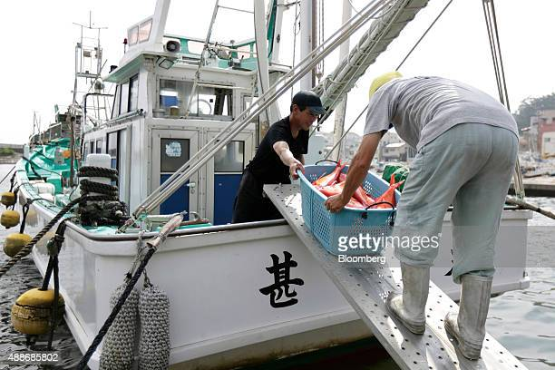 Fishermen unload a basket of freshly caught alfonsino fish from fishing boat at Inatori fishing port in Higashiizu Town Shizuoka Prefecture Japan on...