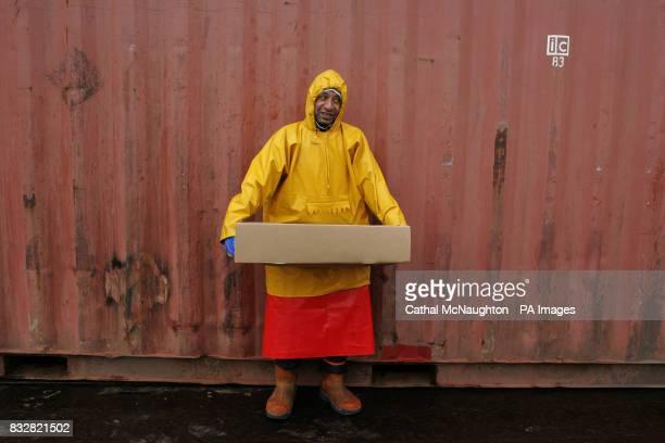 A fishermen unloads a ship in Stanley docks Falkland Islands