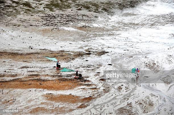 CONTENT] Fishermen walking on artistic Mudflats beach in Xiapu Fujian China