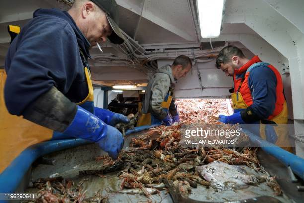 Fishermen work aboard the Good Fellowship fishing trawler, while its nets trawl the sea bed for prawns and other crustaceans, in the North Sea, off...