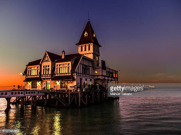 A Fishermen's club in the sunset at the Río de la Plata