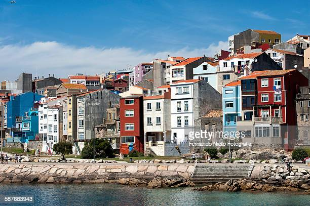 fishermen's houses on the waterfront of the sea - pontevedra province stock photos and pictures
