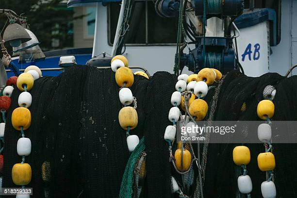 fishermens nettting and bouys - don smith ストックフォトと画像