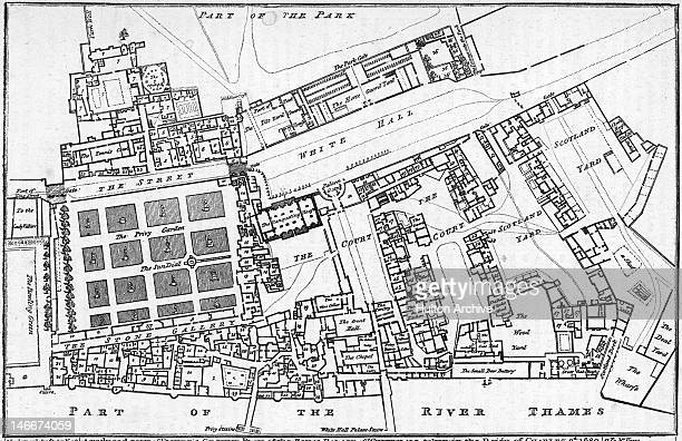 Fisher's ground plan of the Palace of Whitehall London 1680 The Banqueting House is the only surviving building