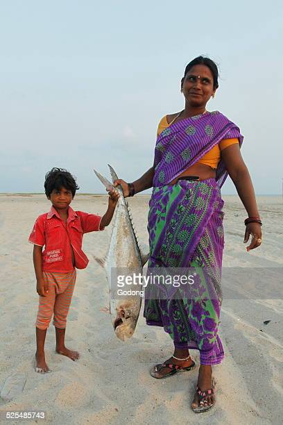 FIsherwoman and her son on Dhanushkodi beach