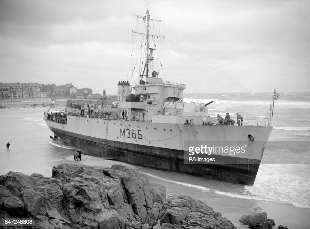 Fishery protection vessel HMS Wave which was blown ashore during a 60mph gale at St Ives Cornwall The ship formerly a minesweeper dragged her anchor...