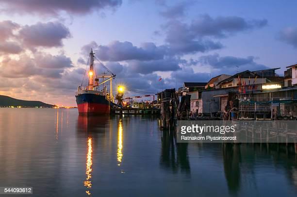 Fishery Ship in Sunset Scene