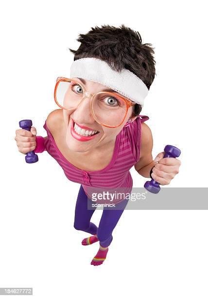 fisheye 80 mujer de ejercicios - personas cabeza grande fotografías e imágenes de stock