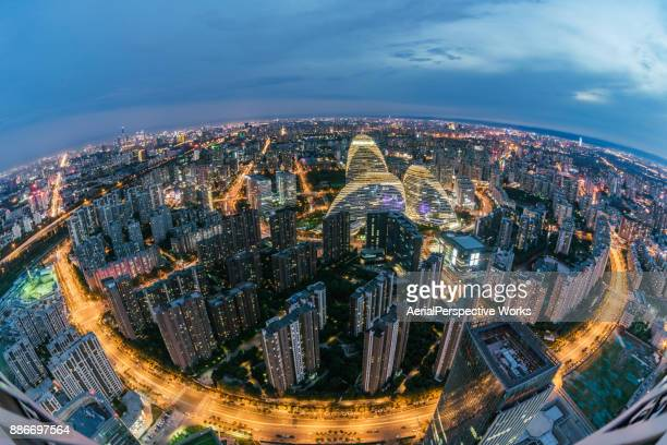 Fisheye and Elevated View of Beijing Wangjing Area at Dusk