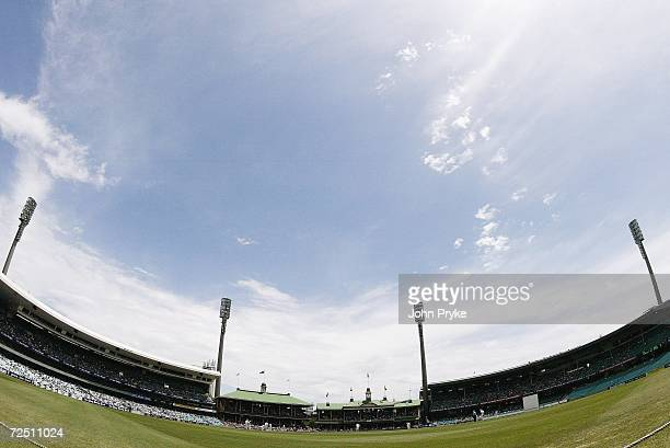 A fisheye general view shows the Sydney Cricket Ground on day one of the second Ashes tour match between New South Wales and England at the Sydney...