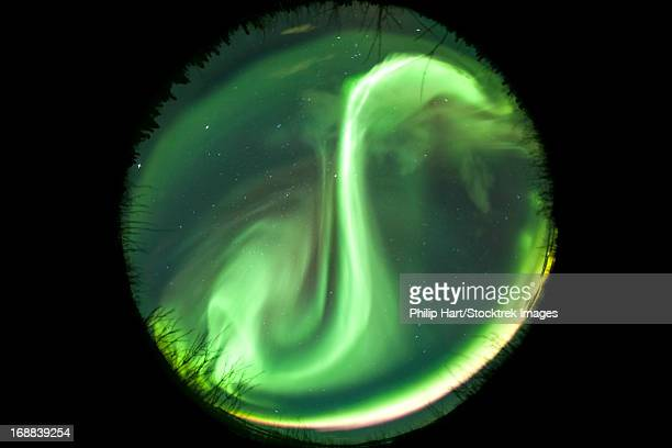 Fisheye lens view of a bright aurora borealis, Lake Laberge, Yukon Territory, Canada.