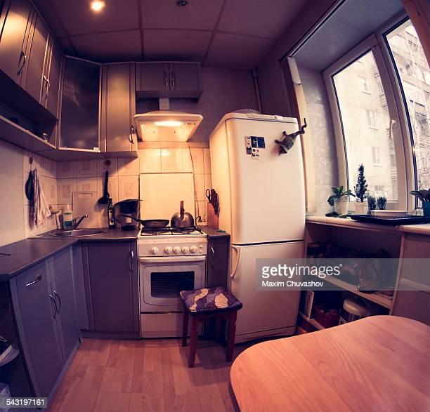 Fish-eye lens view of domestic kitchen