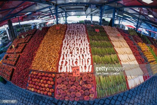 Fish-Eye Lens View Of Fruits And Vegetables For Sale In Market