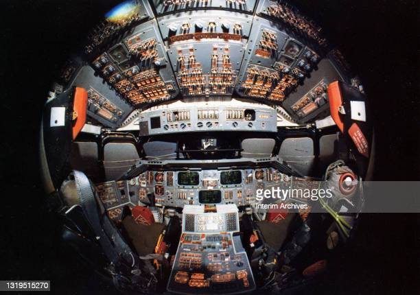 Fish-eye lens view of the flight deck of the Space Shuttle Columbia, Kennedy Space Center, Florida, 1981.