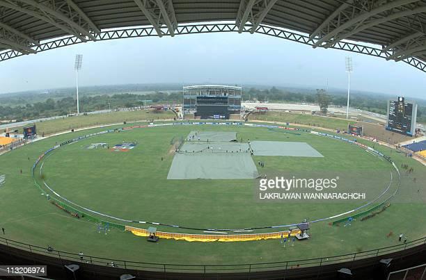 A fisheye lens view of the Suriyawewa Mahinda Rajapakse International Cricket Stadium in the southern district of Hambantota on February 19 2011 The...