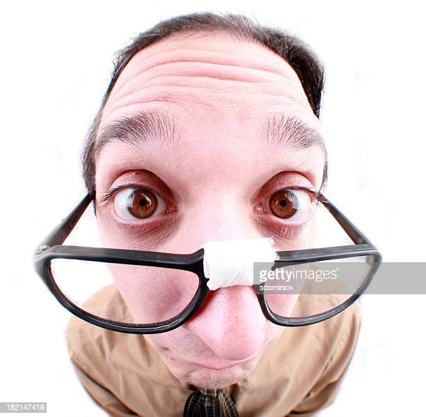 fisheye nerd - big nose stock photos and pictures