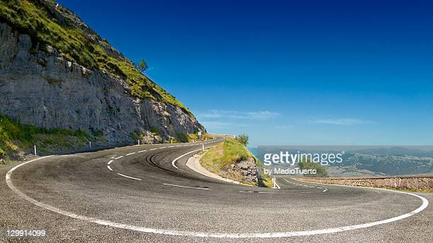 fisheye - hairpin curve stock photos and pictures