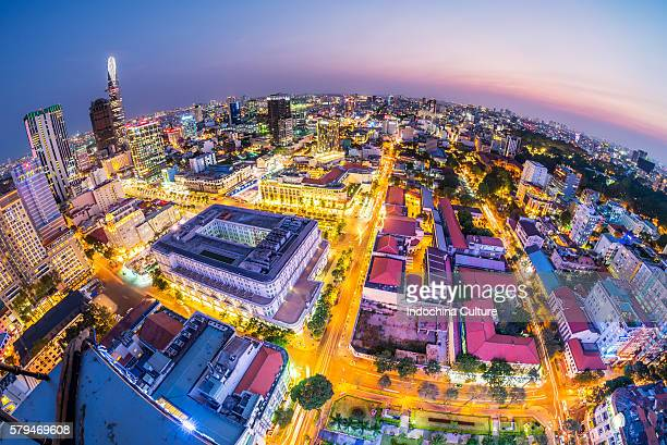 Fisheye skyline view of Central District of Saigon at blue hour