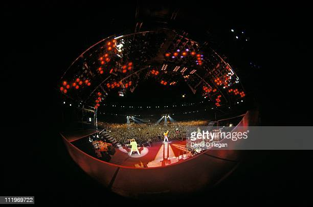 A fisheye view from backstage of British rock group Queen performing at Wembley Stadium London 1986