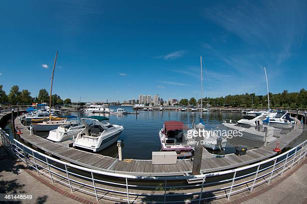 Fisheye view of a Camden waterfront marina.