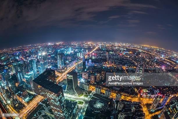 Fisheye View of Beijing Skyline at Night