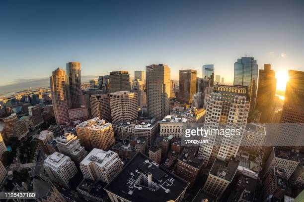 fisheye view of boston skyline - boston stock pictures, royalty-free photos & images