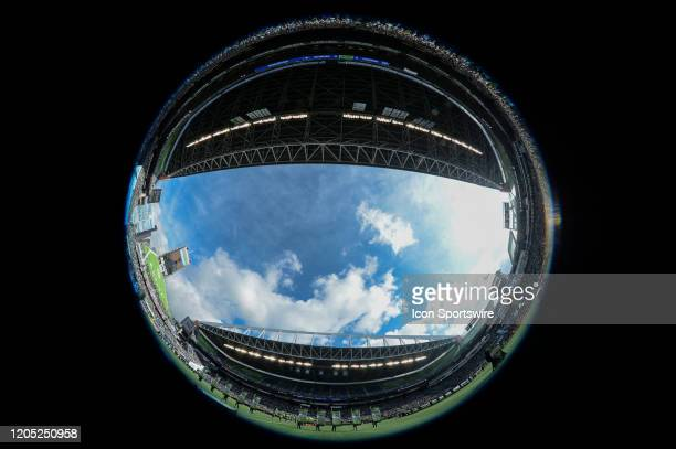 A fisheye view of Century Link Field in Seattle before a MLS match between the Chicago Fire and the Seattle Sounders