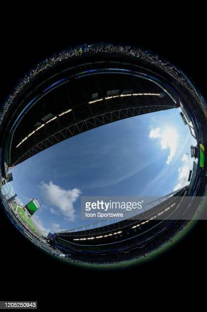 A fisheye view of Century Link Field in Seattle before an MLS match between the Chicago Fire and the Seattle Sounders