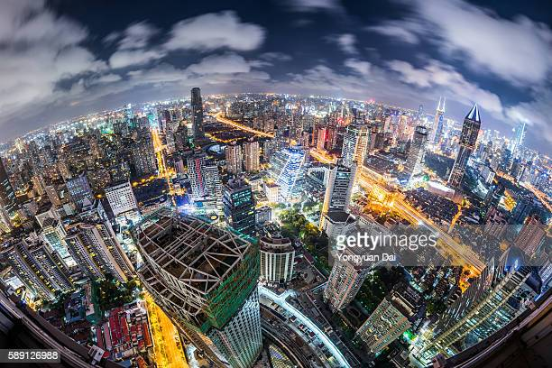 Fisheye View of Downtown Shanghai at Night