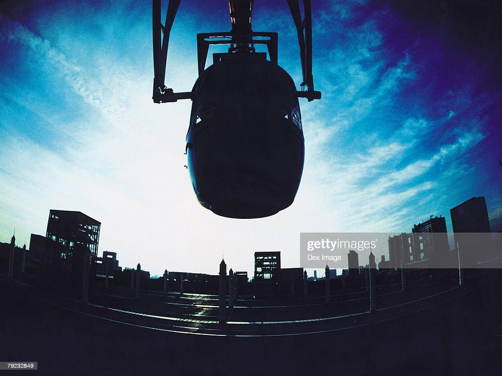Fisheye view of Ferris wheel cabin, silhouette : Stock Photo