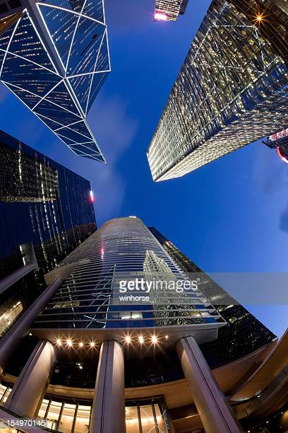 fisheye view of hong kong skyscrapers - cheung kong centre stock pictures, royalty-free photos & images