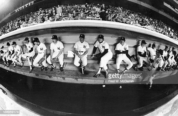 Fisheye view of players on the bench during a New York Yankees home game at Yankee Stadium New York New York mid 1978