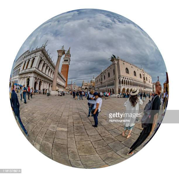 fish-eye view of san marco column and doge's palace - leone di san marco foto e immagini stock