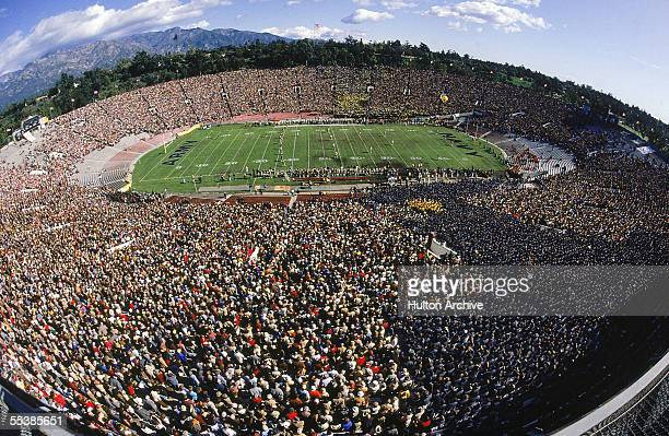 Fisheye view of the 1983 Army - Navy Game at the Rose Bowl, Pasadena, California, November 25, 1983. The final score was Navy 42, Army 13.