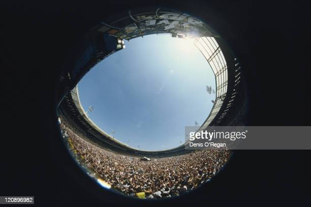 A fisheye view of the crowd at the Live Aid charity concert Wembley Stadium London 13th July 1985