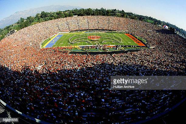 Fisheye view of the half-time show at the 1984 Rose Bowl Game between UCLA and Illinois, Pasadena, California, January 2, 1984. UCLA won the game,...