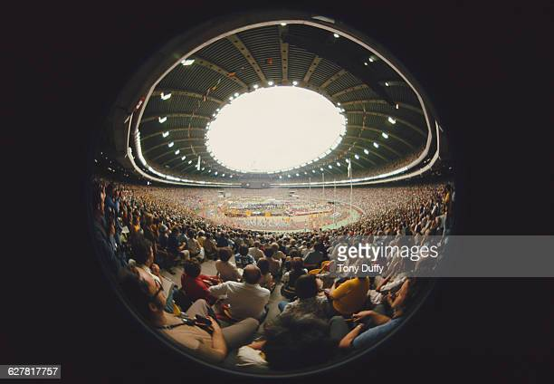 Fisheye view of the Opening Ceremony for the XXI Summer Olympics on 17 July 1976 at the Olympic Stadium, Olympic Park, Montreal, Quebec, Canada.