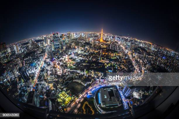 fisheye view of tokyo at night - wide angle stock pictures, royalty-free photos & images