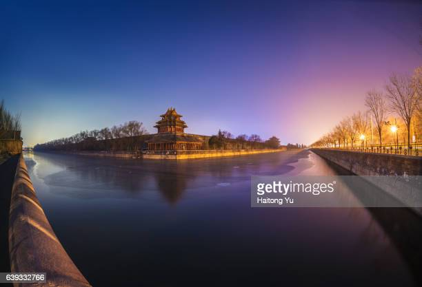 fish-eye view of turret palace of forbidden city at night - moat stock pictures, royalty-free photos & images