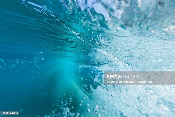 Fisheye view of wave breaks at kua beach north of kona