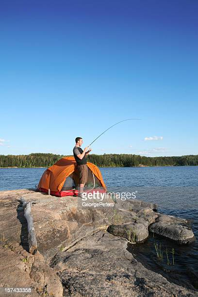 fishing and camping - boundary waters canoe area stock pictures, royalty-free photos & images