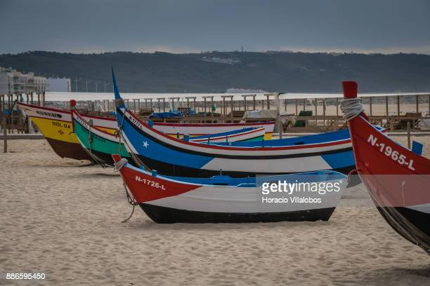 Fishing and life boats are seen on display at the beach during Gastronomic FAM Tour on November 27 2017 in Nazare Portugal Gastronomic tours are...